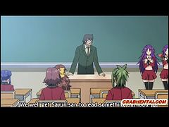 アニメ無修正:Pregnant hentai coeds groupsex lesson in the classroom [海外エロ動画]