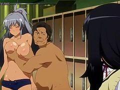 アニメ無修正:Busty anime licked by old dude [海外エロ動画]
