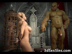 アニメ無修正:3D Evil Creatures Fuck Elf Girls! [海外エロ動画]