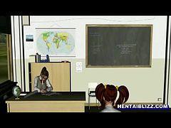アニメ無修正:3d animated coeds lesbian sex in the class [海外エロ動画]
