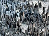 大都会の高層ビル群をホッチキスの芯で表現してみた