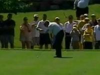 プロゴルファーのファジー・ゼラーのミラクルバックスピンショット