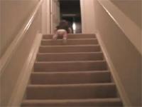 赤ちゃんの本気を見た。哺乳瓶を見せられて高速で階段を下りる赤ちゃん