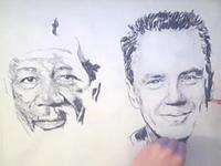 両手で同時に2人の人物を描く【ショーシャンクの空に】