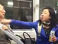 地下鉄内でビールを飲みながら煙草を吸う女(韓国)が注意されて発狂w