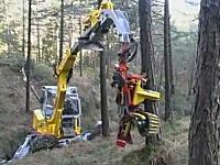 エイリアンのようにクパッ!と開いて掴み素早く木を伐採する便利なマシーン