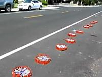 なんか通り過ぎたw路上で500本の花火に同時点火で凄い事にw