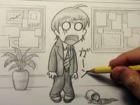 えんぴつを使った漫画(イラスト)の描き方解説ビデオ。JPカタカナ「ガーン!」