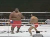 いくらなんでも体格差が有り過ぎな格闘試合。76kg VS 272kg・・・。