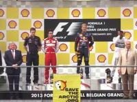 F1ベルギーGPの表彰台にグリーンピースがこっそり抗議の乱入を行っていたww
