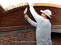 職人動画。レンガとセメントで感覚だけを頼りにアーチ型の屋根を作る方法。