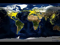 地球の空は混雑している。世界中で飛んでいる飛行機の一日を70秒間で。