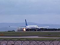 バードストライクか。離陸加速中のエアバスA330の右エンジンが火を噴く