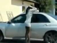 お色気シーンありw車の窓を利用して身だしなみをチェックしていたら・・・