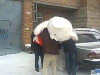 デカすぎワロタwww車に巨大なぬいぐるみを積み込もうと四苦八苦している男たち