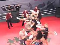格闘技の試合を5対5で行うとこうなる動画。審判も5人。ラトビアの新格闘技TFC