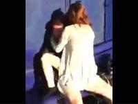 バス停で青姦しようとしていたカップルが撮影され虐められるw