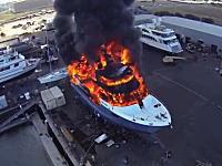 スーパー高そうなスーパーヨットが大炎上している様子を空撮してみた。
