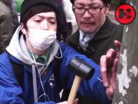街路樹に釘と金槌で手のひらを打ちつける(@_@;)痛い動画をつべてる日本人。