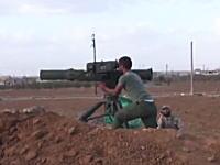 グングン動画。発射された対戦車ミサイルが誘導されて命中するまで。実戦編。