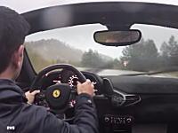 なぜ屋根を開けたwww土砂降りの雨の中をフェラーリ458スパイダーで走ってみた