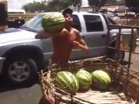 トラックからの荷下ろし作業でスイカの受け取り方がカッコ良すぎる男。
