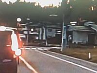 ドラレコが記録した衝撃映像。トラックが信号機に突っ込む瞬間。運転席ぶっ壊れてる。