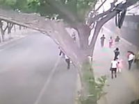 中国蘭州市で強風により歩道脇の壁が20メートルに渡って崩れ2名が下敷きになり死亡。そのビデオ。