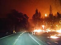 これは怖すぎないw山火事の中を走る車から撮影した映像がマジ地獄w
